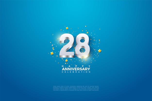 28e anniversaire avec des chiffres plaqués argent