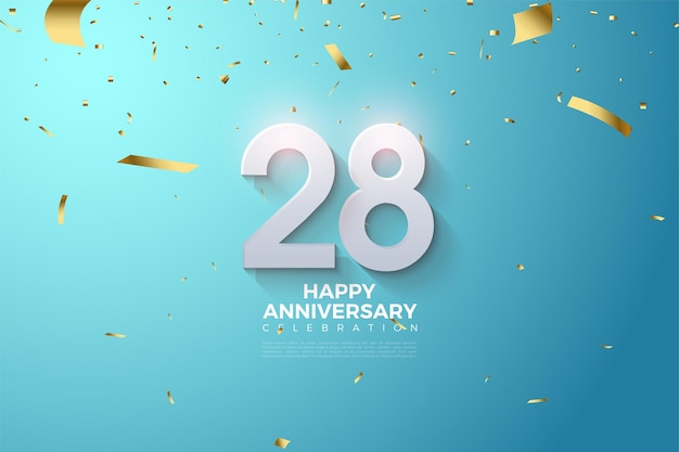 28e anniversaire avec chiffres en relief sur fond bleu
