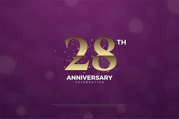 28e anniversaire fond avec des chiffres bruns sur fond violet