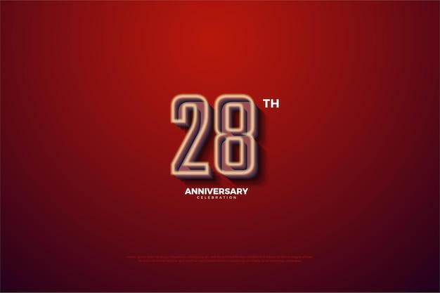 28e anniversaire fond avec un contour blanc doux