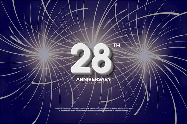 28e anniversaire fond avec effet de feux d'artifice derrière les chiffres