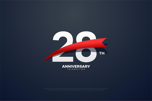 28e anniversaire fond avec des images épineuses rouges