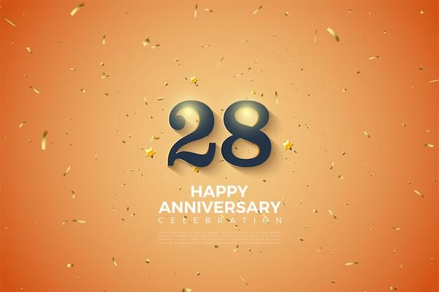 28e anniversaire sur fond moucheté d'or