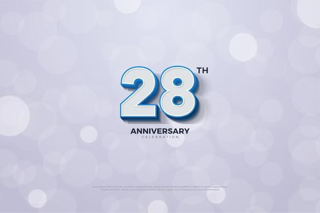 28e anniversaire fond avec des nombres 3d à bords bleus