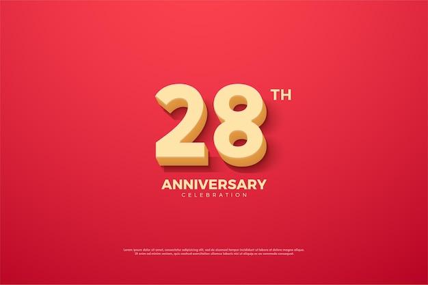 28e anniversaire fond avec des nombres animés en relief