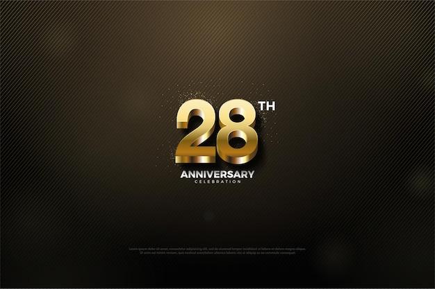 28e anniversaire fond avec des nombres d'or scintillants