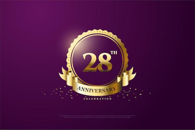 28e anniversaire fond avec des nombres d'or