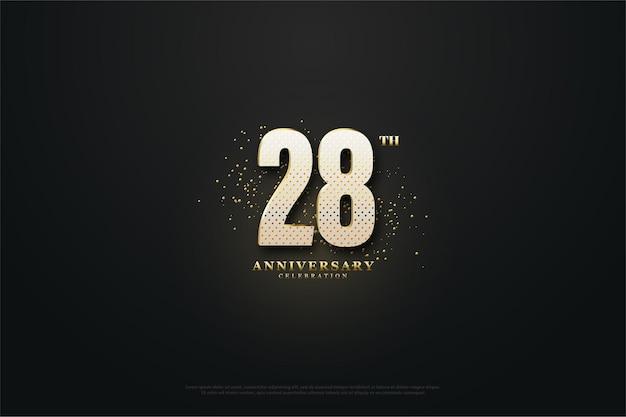 28e anniversaire fond avec des nombres en pointillés