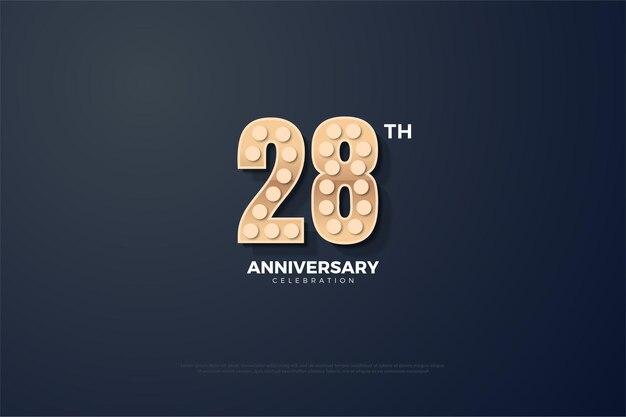 28e anniversaire fond avec des nombres texturés