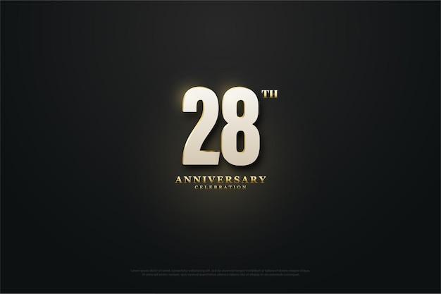 28e anniversaire fond avec le numéro lumineux