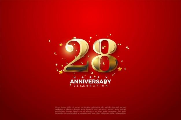 28e anniversaire avec des nombres d'or
