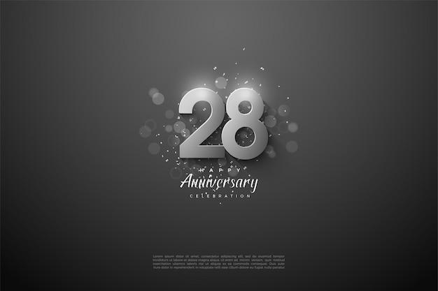 28e anniversaire avec des numéros d'argent