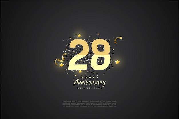 28e anniversaire avec numéros gradués