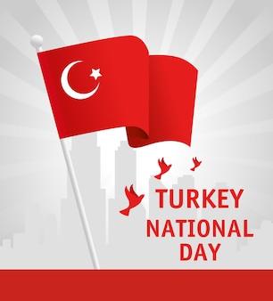 29 octobre jour de la république turquie avec colombes volant et drapeau