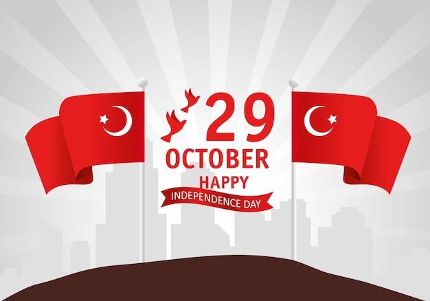 29 octobre jour de la république turquie avec des drapeaux