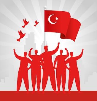 29 octobre jour de la république turquie avec groupe de personnes et drapeau