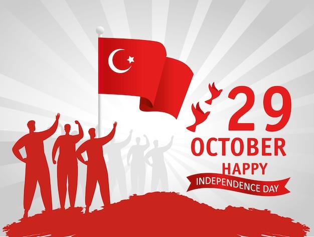 29 octobre jour de la république turquie et groupe de personnes avec drapeau