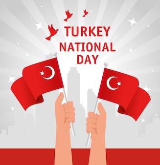 29 octobre jour de la république turquie et mains avec drapeau