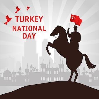 29 octobre jour de la république turquie et militaire à cheval avec drapeau