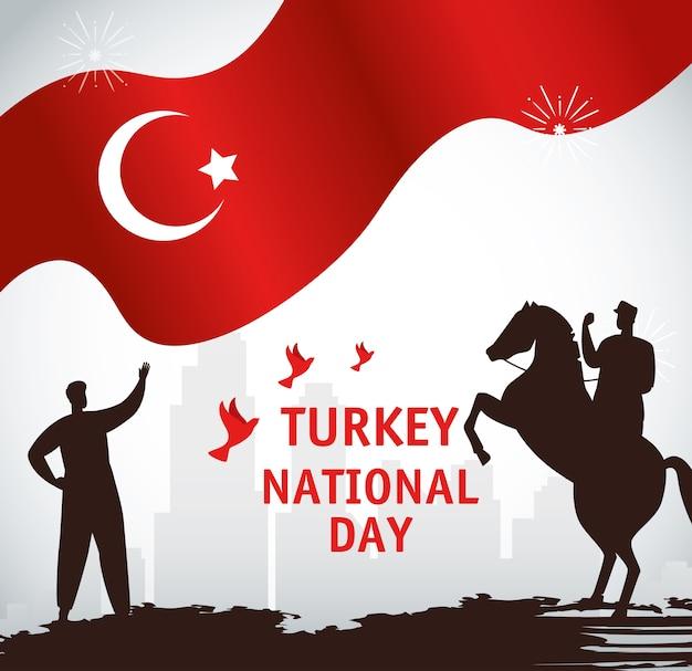 29 octobre jour de la république turquie, avec des personnes et un drapeau