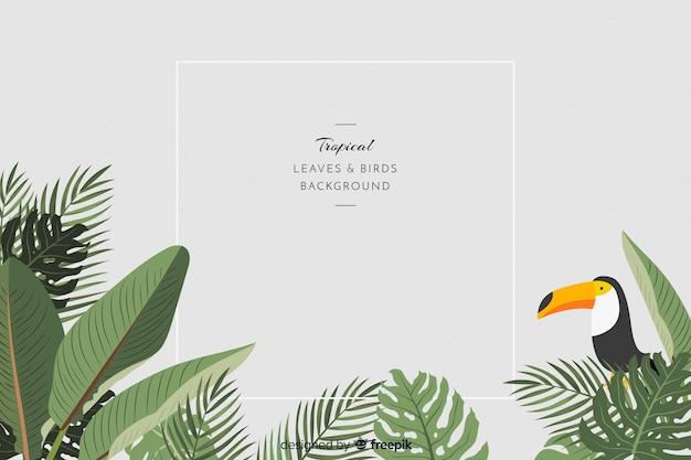 2d feuilles tropicales et fond d'oiseaux
