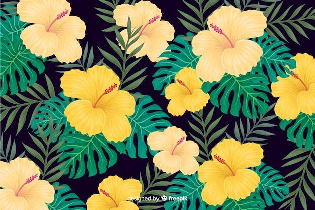2d fond de fleurs tropicales