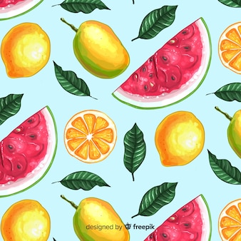2d motif de fruits tropicaux
