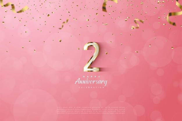 2e anniversaire avec illustration de numéros à rayures dorées luxueuses.