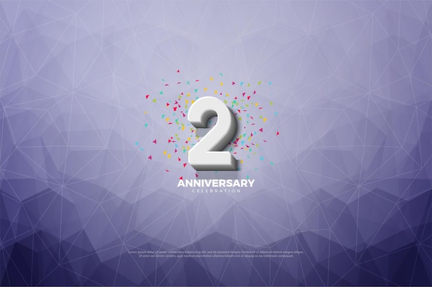 2e anniversaire avec illustration de numéros en relief sur fond de papier cristal.