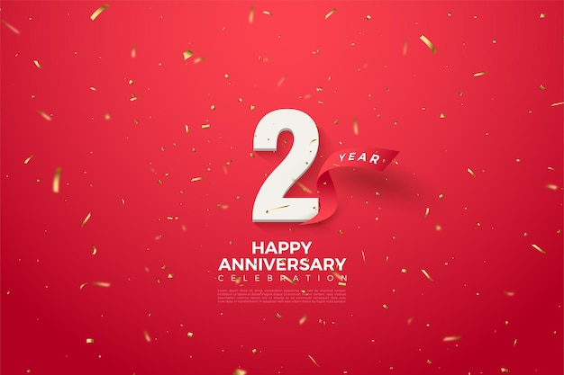 2e anniversaire avec illustration de ruban rouge courbé derrière les chiffres.