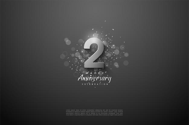 2e anniversaire avec des numéros d'argent 3d.