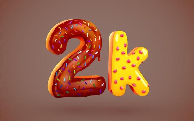 2k ou 2000 abonnés signe de dessert de beignet amis de médias sociaux merci abonnés