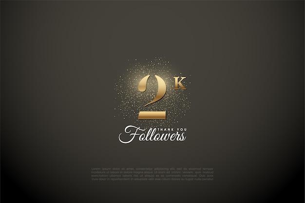 2k abonnés avec des chiffres dorés brillants