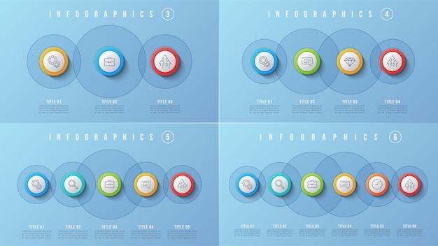 3 4 5 6 options de conception infographique, modèle de présentation