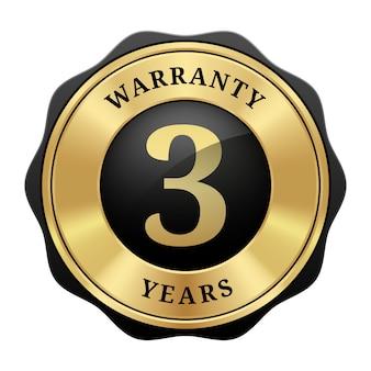 3 ans de garantie badge logo vintage de luxe métallique brillant noir et or