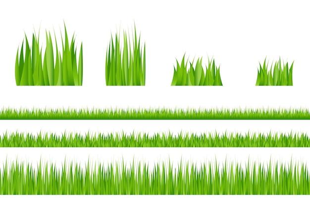 3 bordures d'herbe verte et 4 touffes d'herbe