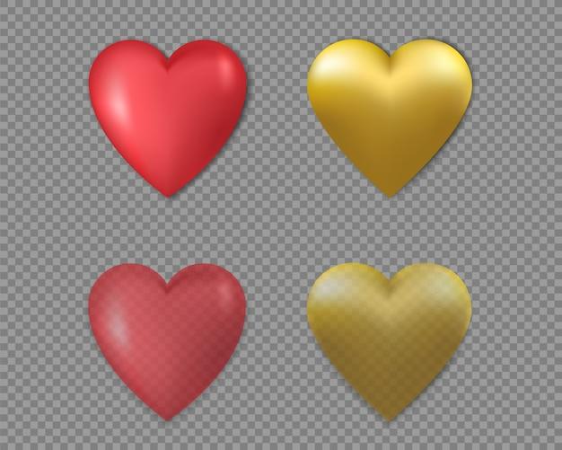 3 d coeurs dorés et rouges