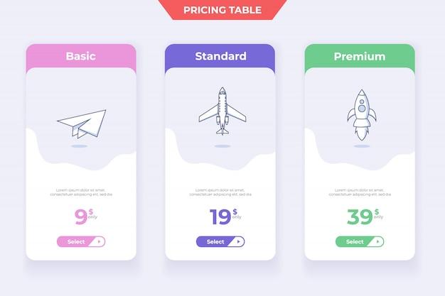 3 conception de modèle de tableau de prix de plan