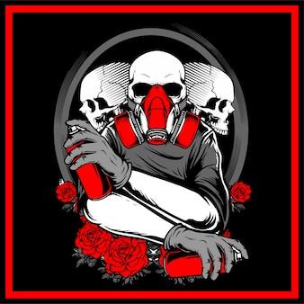 3 crâne tenant un dessin à la main en aérosol