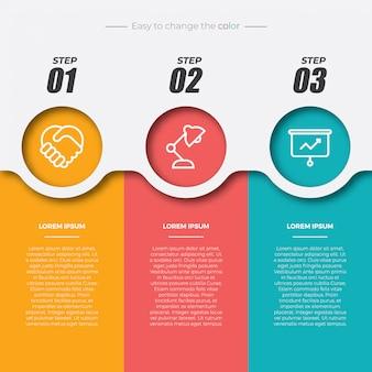 3 éléments infographiques rectangulaires colorés