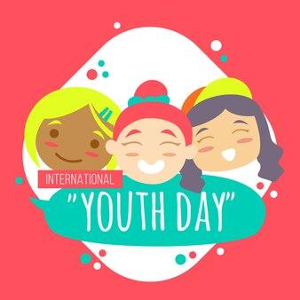 3 enfants célèbrent le jour de la jeunesse