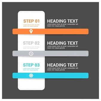 3 étapes icône bannière modèle infographique