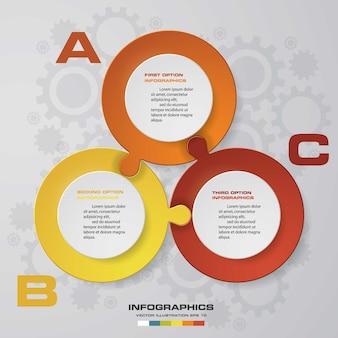 3 étapes de présentation modèle d'infographie