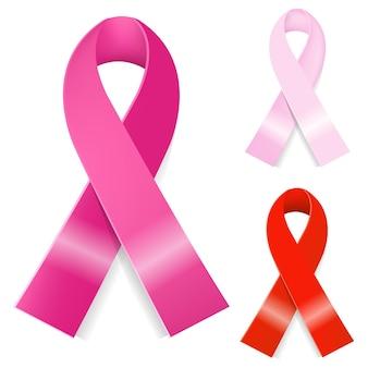 3 ruban de cancer du sein, isolé