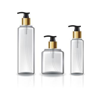3 tailles de bouteille cosmétique carrée avec tête de pompe en or.