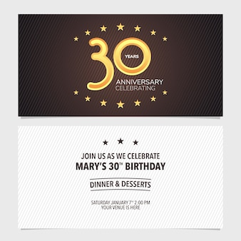 30 ans anniversaire invitation vector illustration