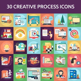30 créatif icône de processus