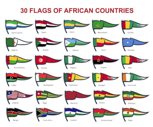 30 drapeaux des pays africains
