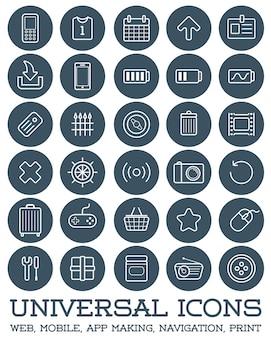 30 icônes universelles définies pour tous les usages web, mobile, création d'applications, navigation, impression