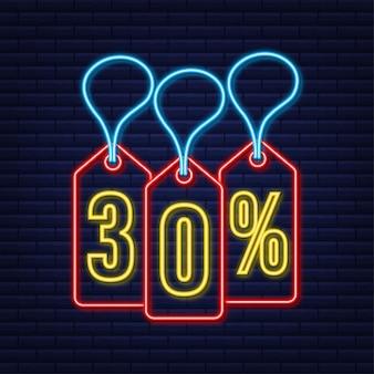 30 pour cent de réduction sur l'étiquette de néon de remise sur la vente